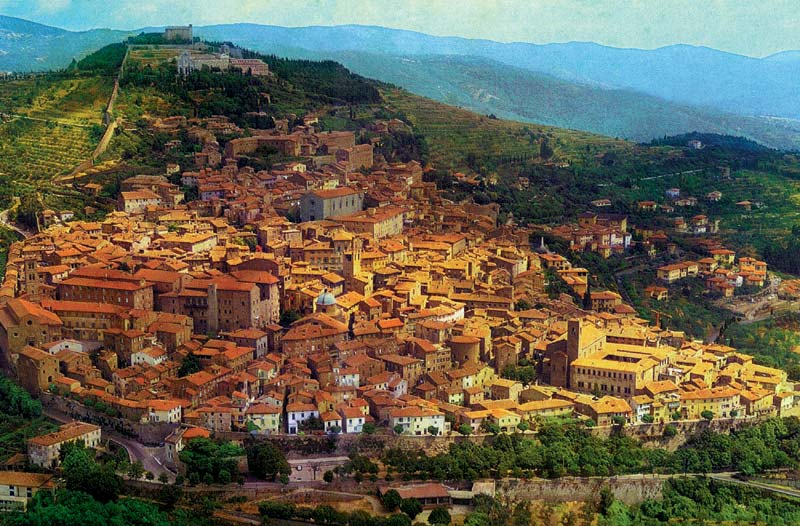 Aerial view of the city of Cortona, Italy, Tuscany